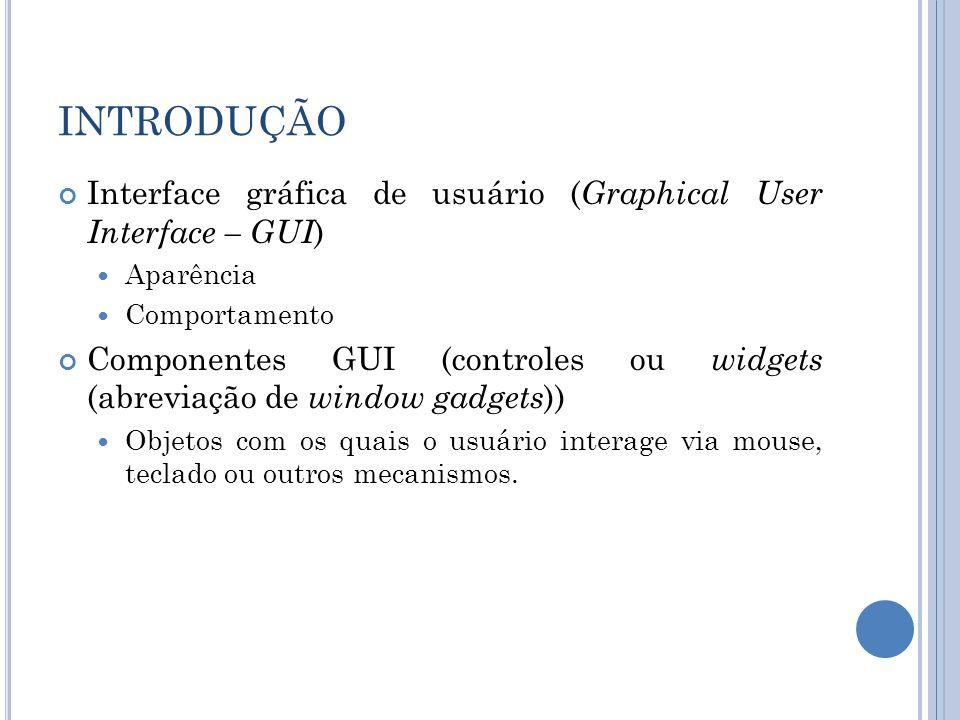 INTRODUÇÃO Interface gráfica de usuário ( Graphical User Interface – GUI ) Aparência Comportamento Componentes GUI (controles ou widgets (abreviação d