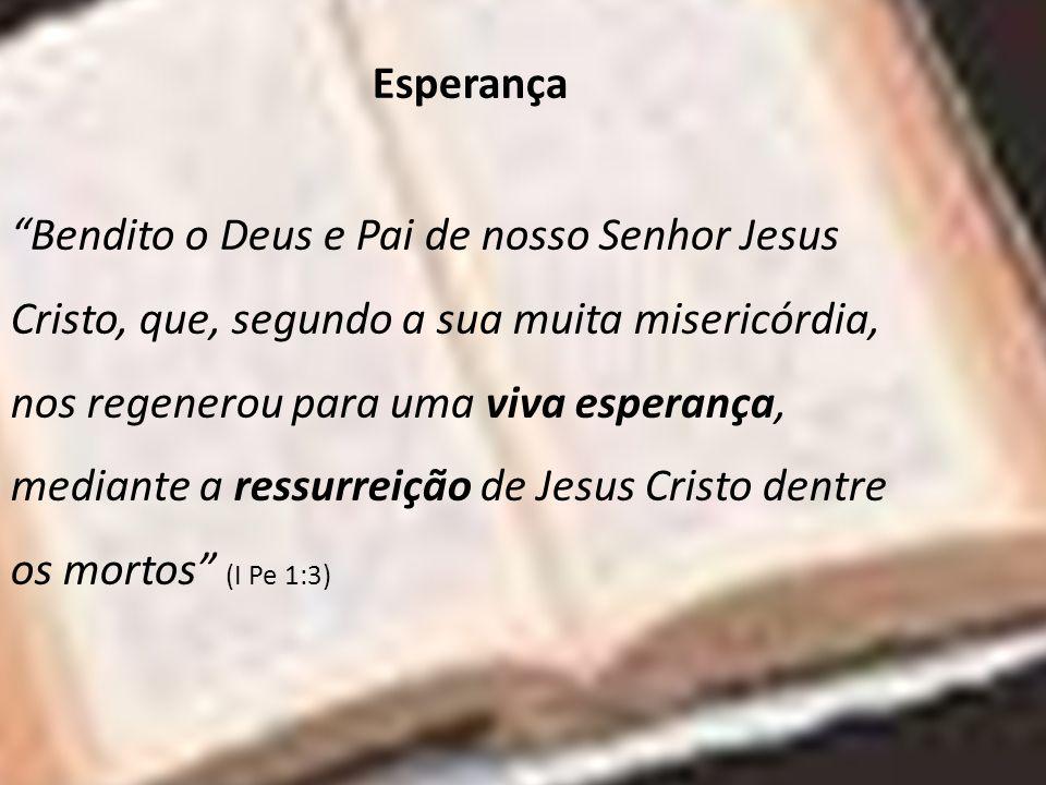 Esperança Bendito o Deus e Pai de nosso Senhor Jesus Cristo, que, segundo a sua muita misericórdia, nos regenerou para uma viva esperança, mediante a