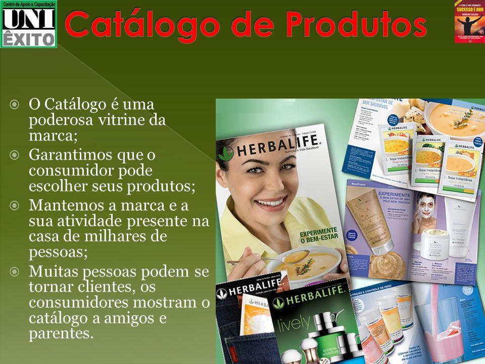 O Catálogo é uma poderosa vitrine da marca; Garantimos que o consumidor pode escolher seus produtos; Mantemos a marca e a sua atividade presente na ca