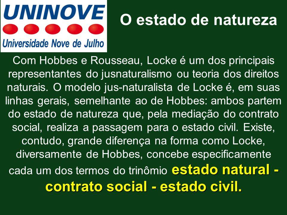 estado natural - contrato social - estado civil. Com Hobbes e Rousseau, Locke é um dos principais representantes do jusnaturalismo ou teoria dos direi