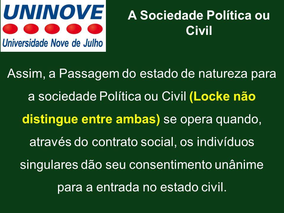 Assim, a Passagem do estado de natureza para a sociedade Política ou Civil (Locke não distingue entre ambas) se opera quando, através do contrato soci