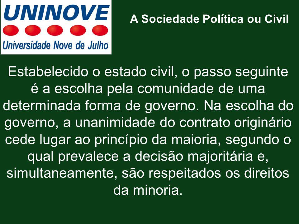 Estabelecido o estado civil, o passo seguinte é a escolha pela comunidade de uma determinada forma de governo. Na escolha do governo, a unanimidade do
