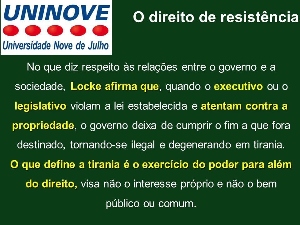 Locke afirma que legislativoatentam contra a propriedade No que diz respeito às relações entre o governo e a sociedade, Locke afirma que, quando o exe