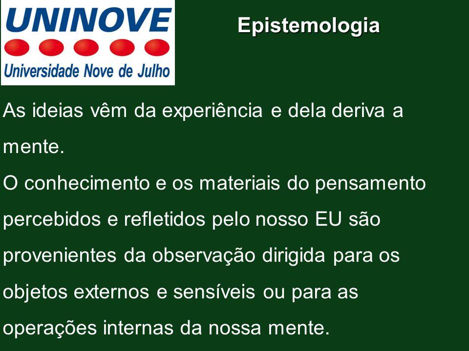Epistemologia As ideias vêm da experiência e dela deriva a mente. O conhecimento e os materiais do pensamento percebidos e refletidos pelo nosso EU sã