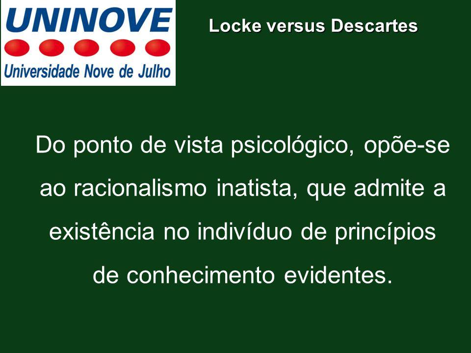 Do ponto de vista psicológico, opõe-se ao racionalismo inatista, que admite a existência no indivíduo de princípios de conhecimento evidentes. Locke v