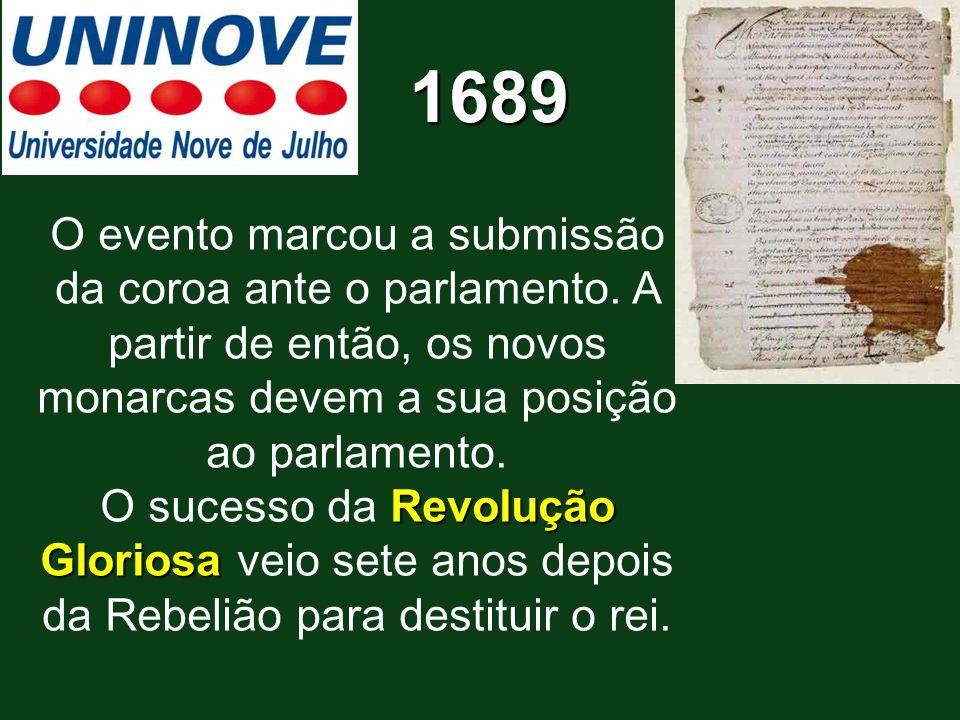 O evento marcou a submissão da coroa ante o parlamento. A partir de então, os novos monarcas devem a sua posição ao parlamento. Revolução Gloriosa O s