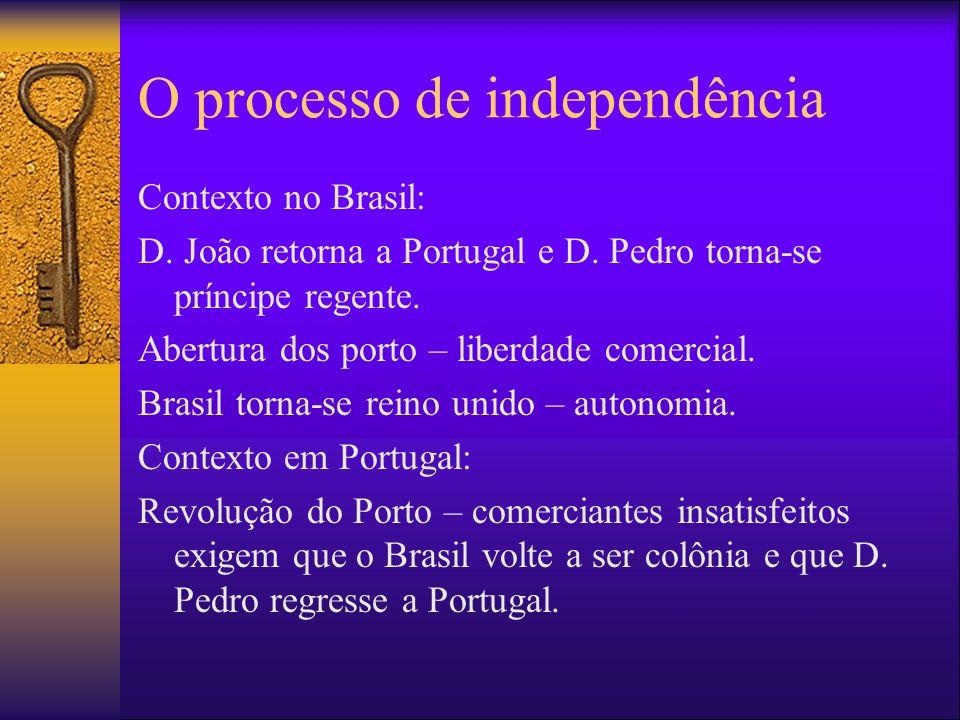 O processo de independência Contexto no Brasil: D. João retorna a Portugal e D. Pedro torna-se príncipe regente. Abertura dos porto – liberdade comerc