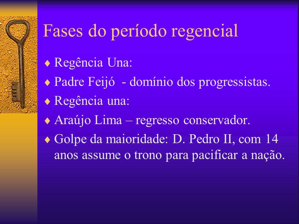 Fases do período regencial Regência Una: Padre Feijó - domínio dos progressistas. Regência una: Araújo Lima – regresso conservador. Golpe da maioridad