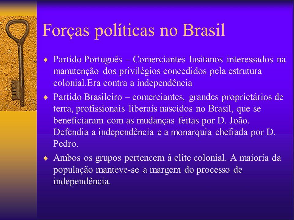 Forças políticas no Brasil Partido Português – Comerciantes lusitanos interessados na manutenção dos privilégios concedidos pela estrutura colonial.Er