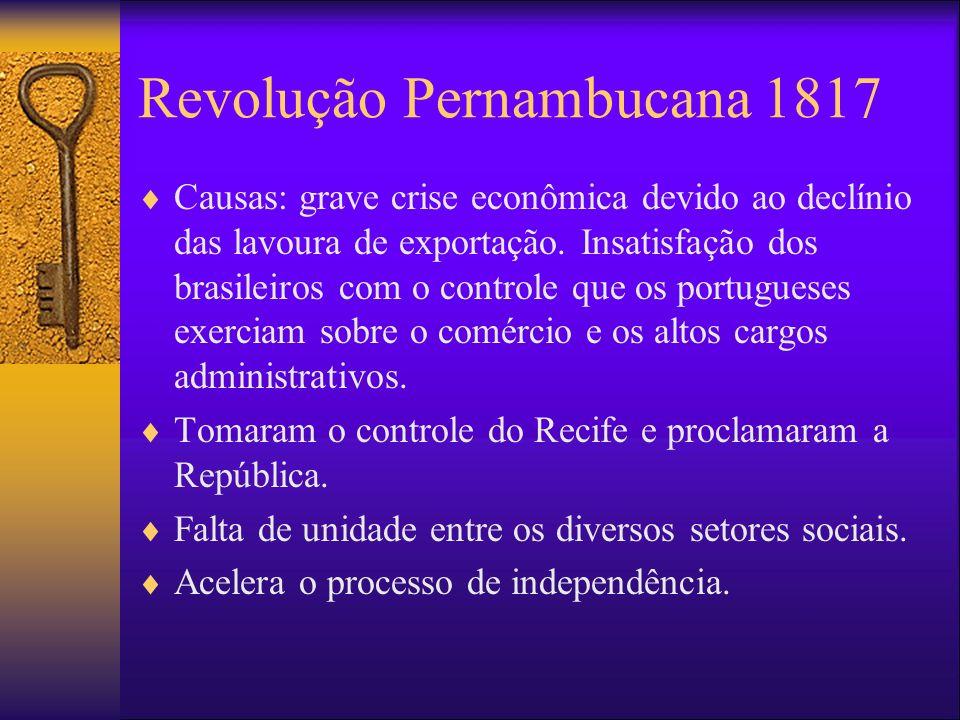 Revolução Pernambucana 1817 Causas: grave crise econômica devido ao declínio das lavoura de exportação. Insatisfação dos brasileiros com o controle qu