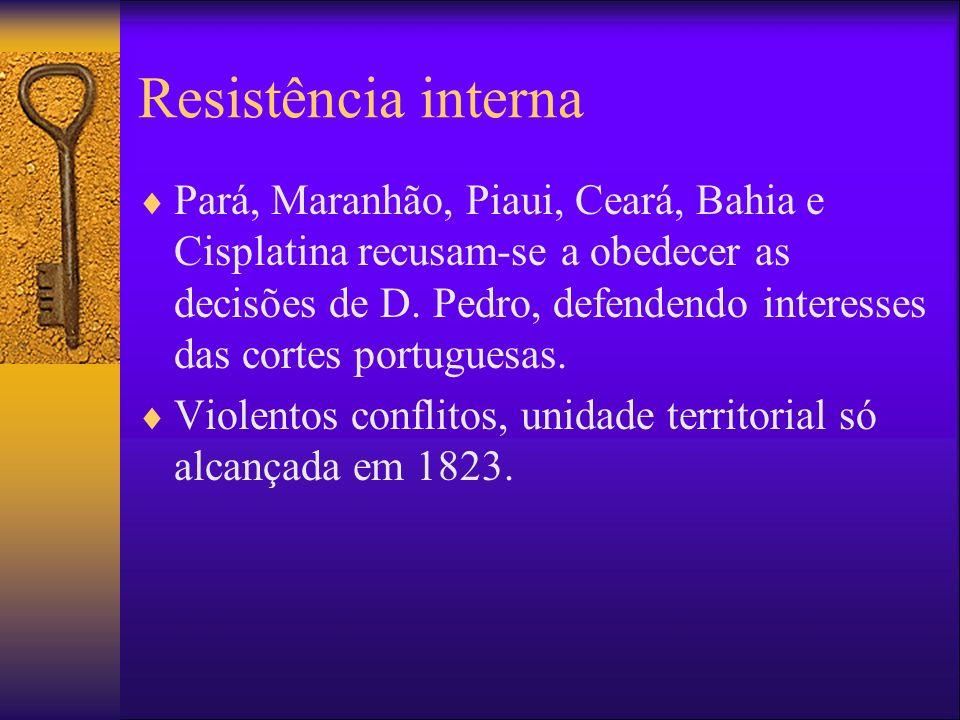 Resistência interna Pará, Maranhão, Piaui, Ceará, Bahia e Cisplatina recusam-se a obedecer as decisões de D. Pedro, defendendo interesses das cortes p