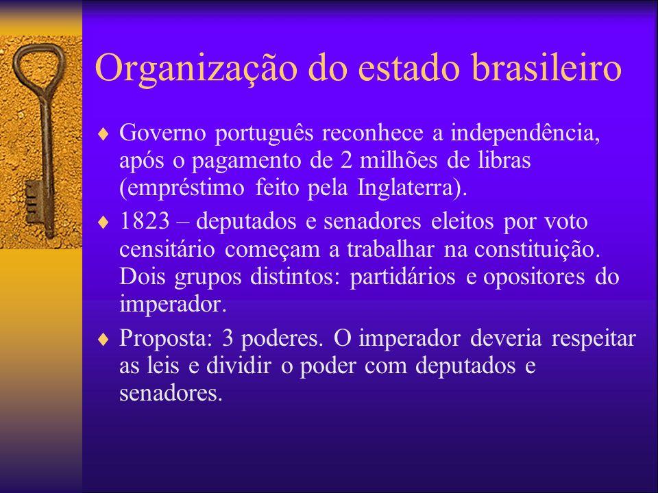 Organização do estado brasileiro Governo português reconhece a independência, após o pagamento de 2 milhões de libras (empréstimo feito pela Inglaterr