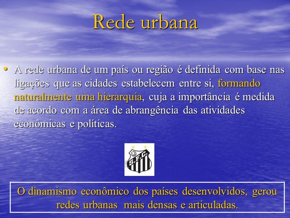 Rede urbana A rede urbana de um país ou região é definida com base nas ligações que as cidades estabelecem entre si, formando naturalmente uma hierarq