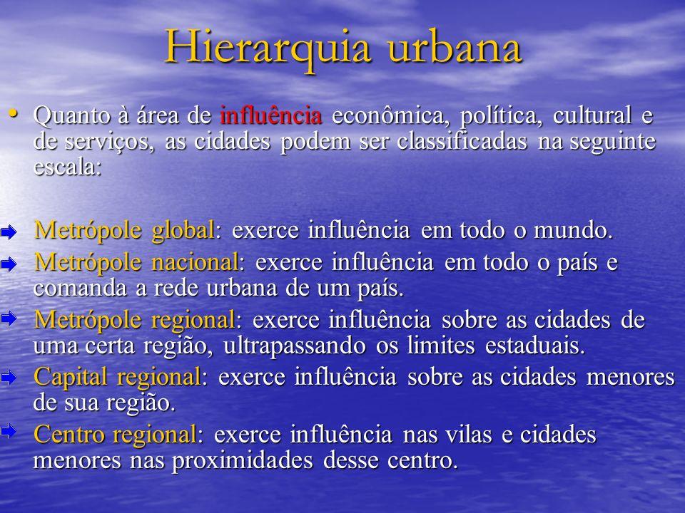Hierarquia urbana Quanto à área de influência econômica, política, cultural e de serviços, as cidades podem ser classificadas na seguinte escala: Quan