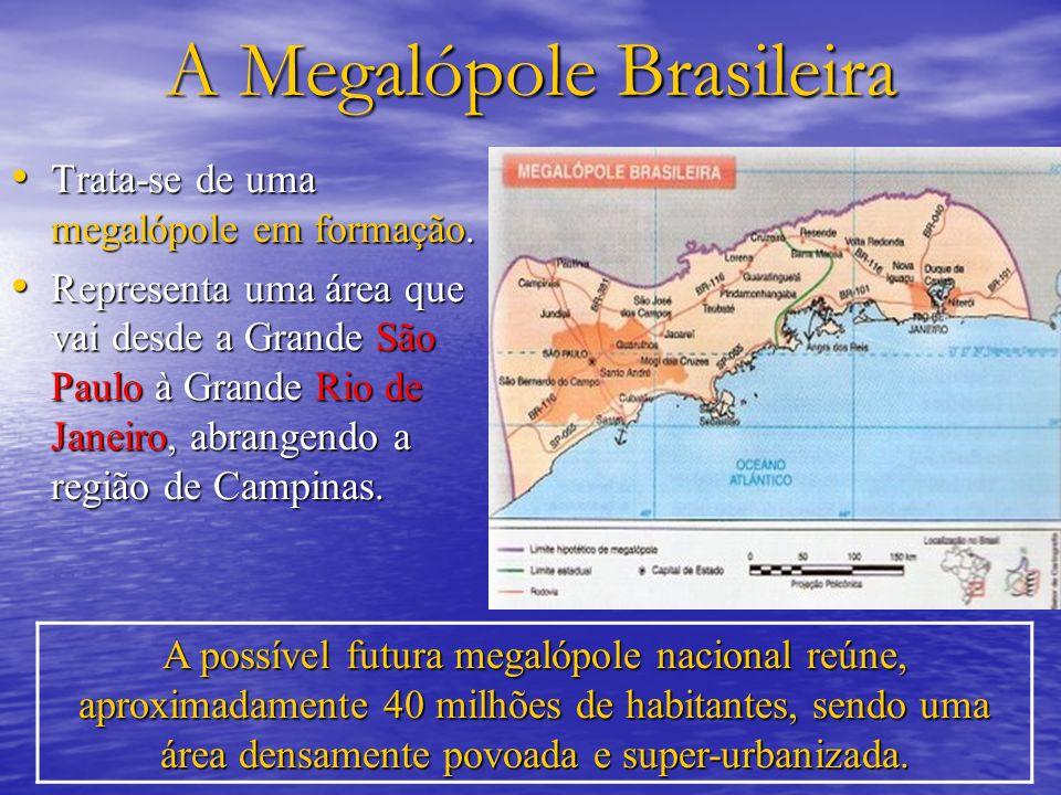 A Megalópole Brasileira Trata-se de uma megalópole em formação. Trata-se de uma megalópole em formação. Representa uma área que vai desde a Grande São
