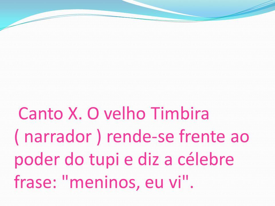 Canto X. O velho Timbira ( narrador ) rende-se frente ao poder do tupi e diz a célebre frase: