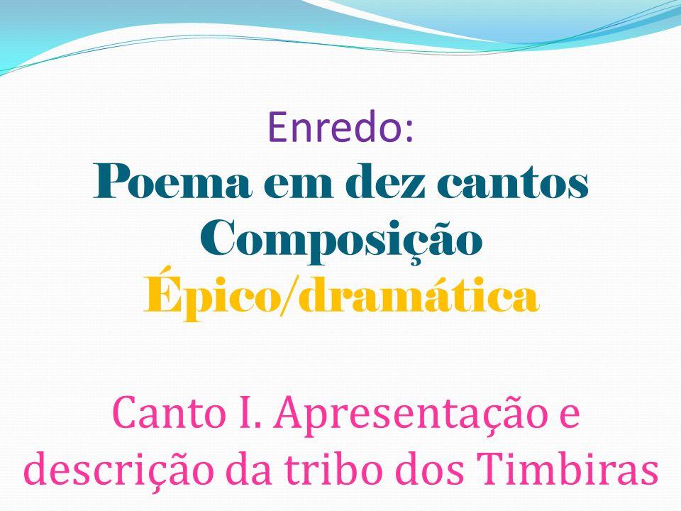 Enredo: Poema em dez cantos Composição Épico/dramática Canto I. Apresentação e descrição da tribo dos Timbiras