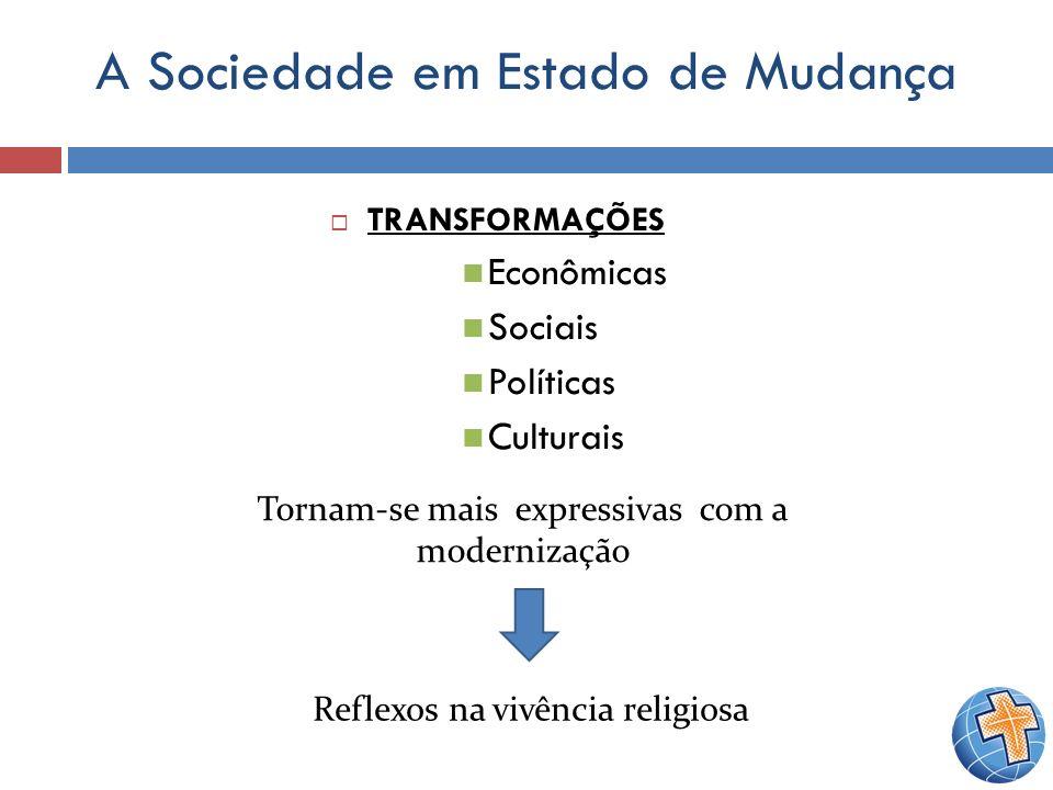A Sociedade em Estado de Mudança TRANSFORMAÇÕES Econômicas Sociais Políticas Culturais Tornam-se mais expressivas com a modernização Reflexos na vivên