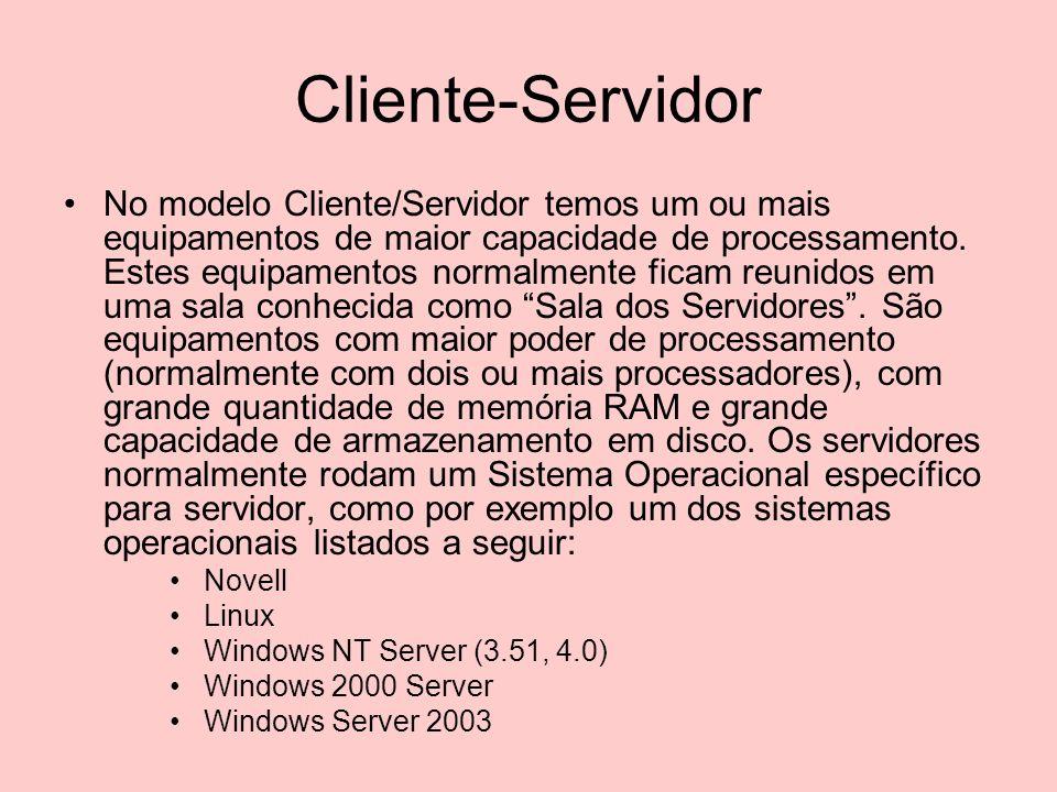 Servidor Nos servidores ficam os recursos a serem acessados pelas estações de trabalho da rede, como por exemplo pastas compartilhadas, impressoras compartilhadas, páginas da Intranet da empresa, aplicações empresariais, bancos de dados, etc.