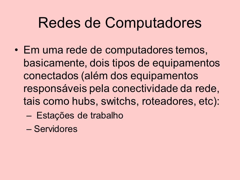 Redes de Computadores Em uma rede de computadores temos, basicamente, dois tipos de equipamentos conectados (além dos equipamentos responsáveis pela c