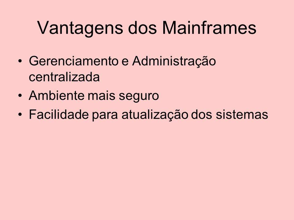 Desvantagens do Mainframe O custo é elevado As linhas de comunicação no Brasil apresentavam problemas seríssimos de desempenho Os sistemas e dados da empresa eram administrados por terceiros