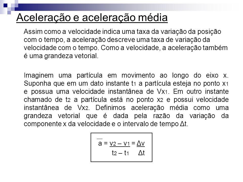 Aceleração e aceleração média Assim como a velocidade indica uma taxa da variação da posição com o tempo, a aceleração descreve uma taxa de variação d