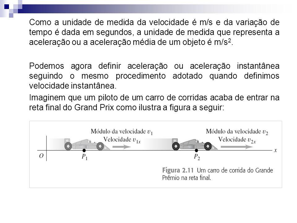 Como a unidade de medida da velocidade é m/s e da variação de tempo é dada em segundos, a unidade de medida que representa a aceleração ou a aceleraçã