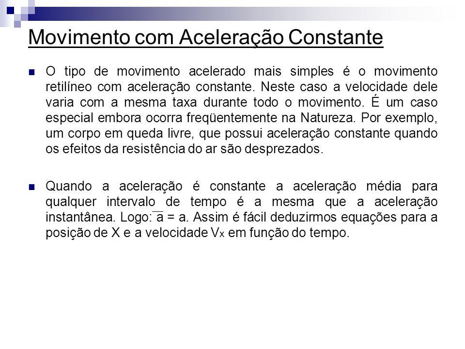 Movimento com Aceleração Constante O tipo de movimento acelerado mais simples é o movimento retilíneo com aceleração constante. Neste caso a velocidad