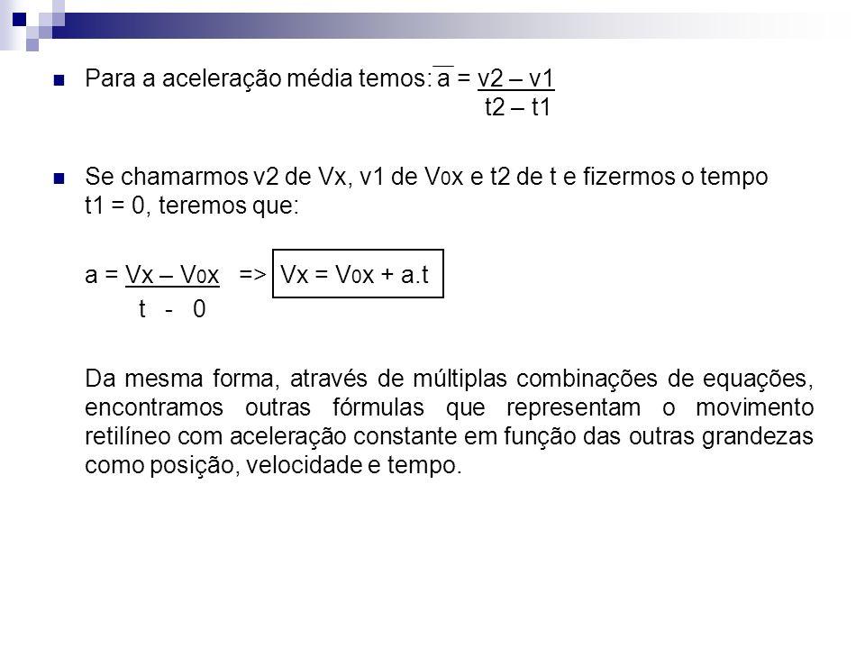 Para a aceleração média temos: a = v2 – v1 t2 – t1 Se chamarmos v2 de Vx, v1 de V 0 x e t2 de t e fizermos o tempo t1 = 0, teremos que: a = Vx – V 0 x