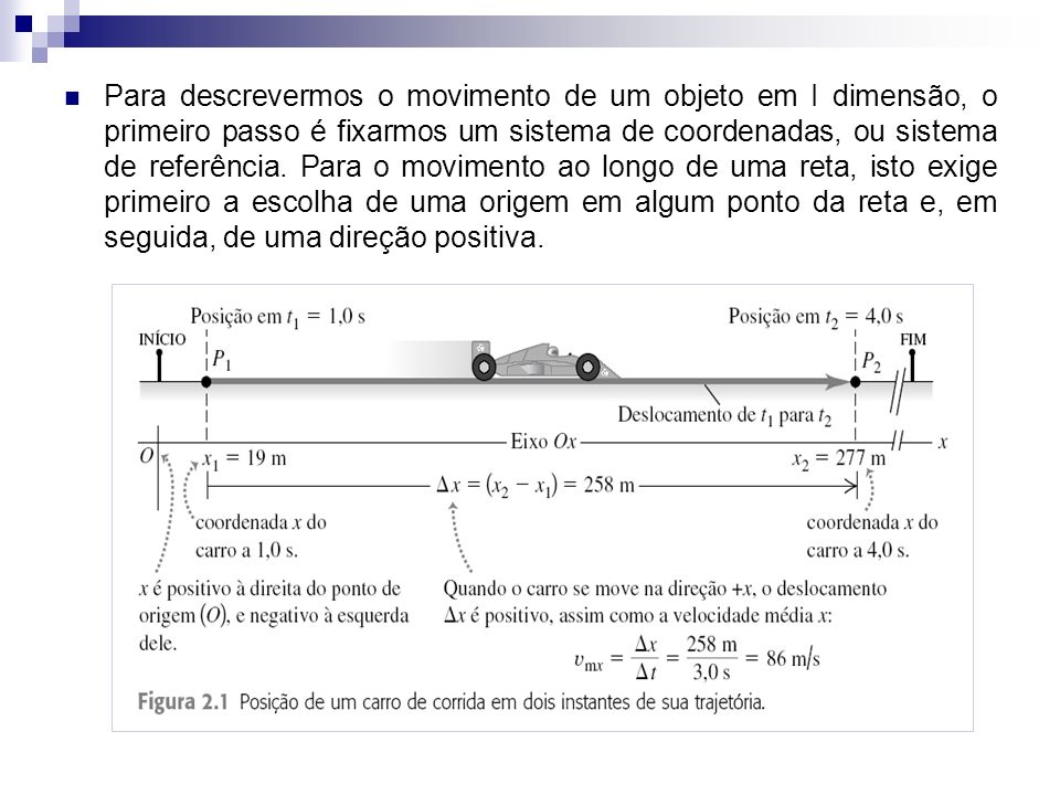Para descrevermos o movimento de um objeto em I dimensão, o primeiro passo é fixarmos um sistema de coordenadas, ou sistema de referência. Para o movi