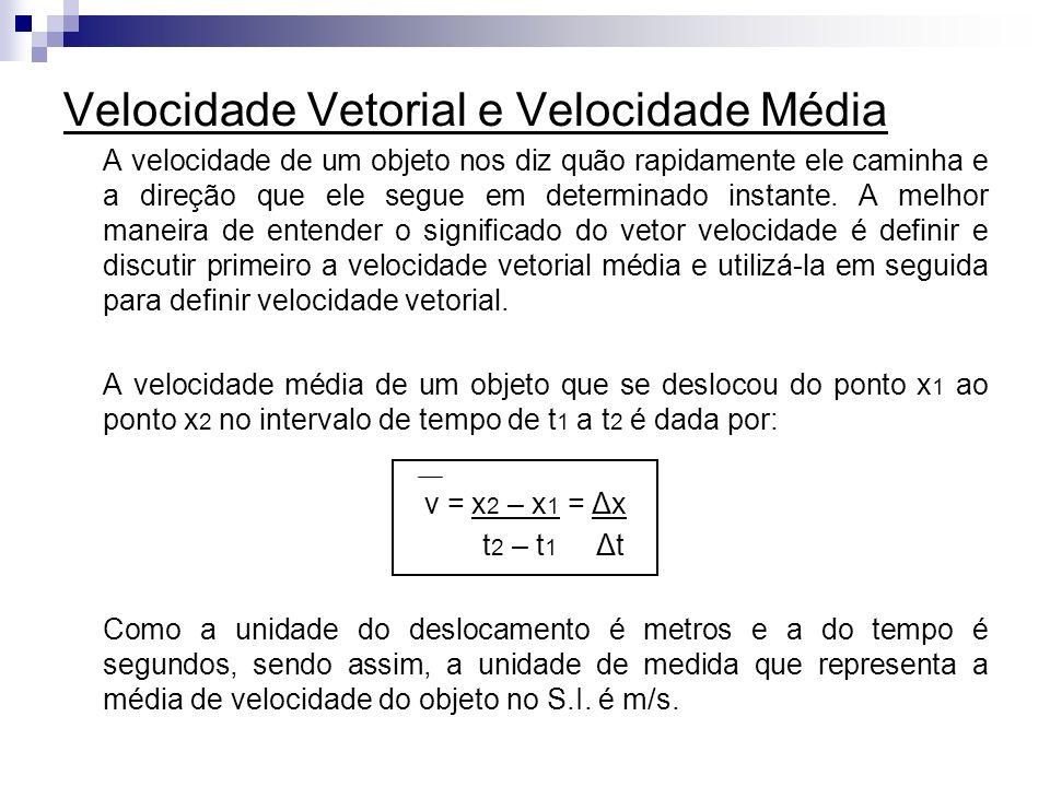 Velocidade Vetorial e Velocidade Média A velocidade de um objeto nos diz quão rapidamente ele caminha e a direção que ele segue em determinado instant
