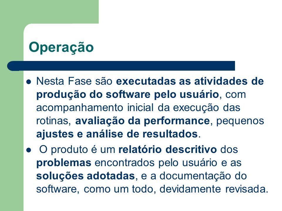 Operação Nesta Fase são executadas as atividades de produção do software pelo usuário, com acompanhamento inicial da execução das rotinas, avaliação d