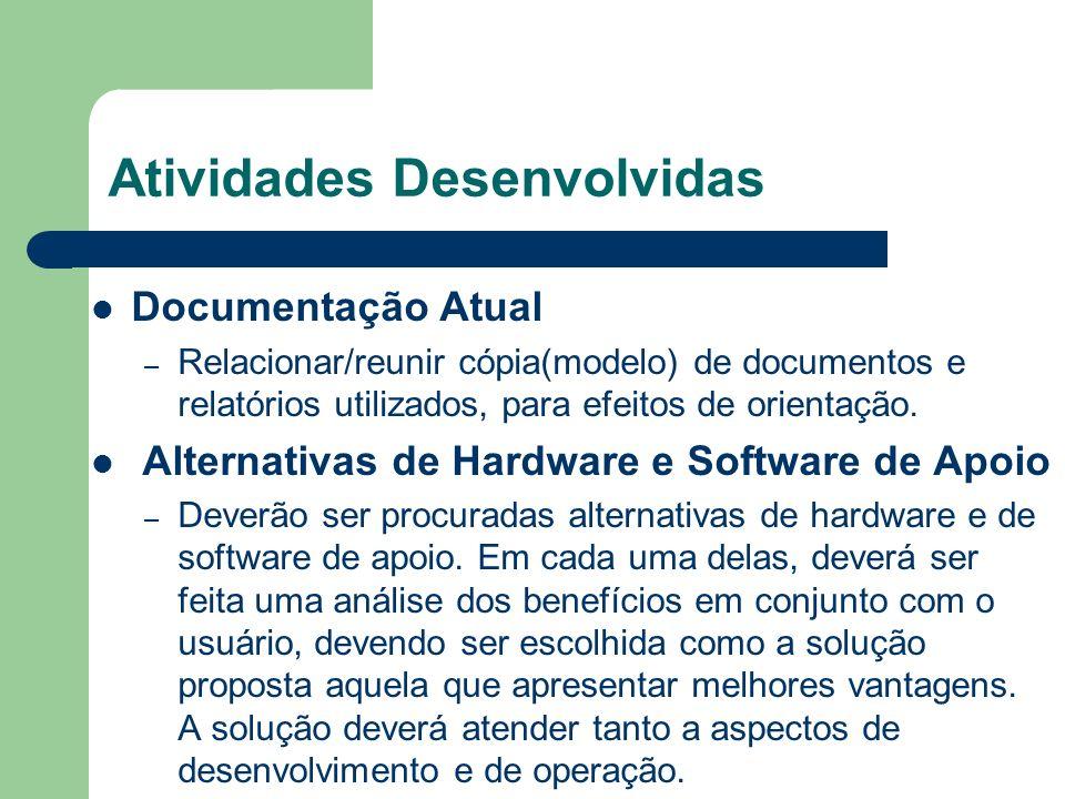 Atividades Desenvolvidas Documentação Atual – Relacionar/reunir cópia(modelo) de documentos e relatórios utilizados, para efeitos de orientação. Alter