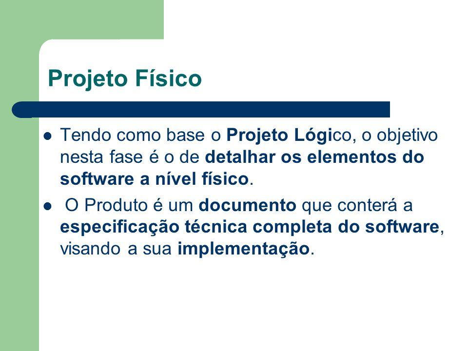 Projeto Físico Tendo como base o Projeto Lógico, o objetivo nesta fase é o de detalhar os elementos do software a nível físico. O Produto é um documen