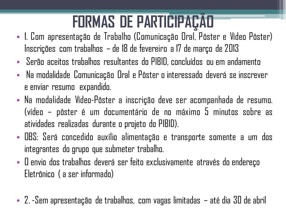 FORMAS DE PARTICIPAÇÃO 1. Com apresentação de Trabalho (Comunicação Oral, Pôster e Vídeo Pôster) Inscrições com trabalhos – de 18 de fevereiro a 17 de
