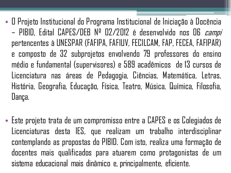 O Projeto Institucional do Programa Institucional de Iniciação à Docência – PIBID, Edital CAPES/DEB Nº 02/2012 é desenvolvido nos 06 campi pertencente