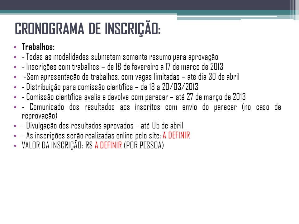 CRONOGRAMA DE INSCRIÇÃO: Trabalhos: - Todas as modalidades submetem somente resumo para aprovação - Inscrições com trabalhos – de 18 de fevereiro a 17