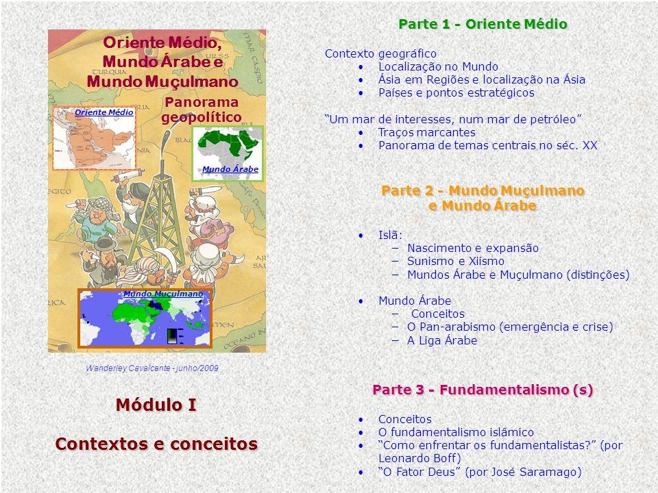 Panorama geopolítico Parte 2 - Mundo Muçulmano e Mundo Árabe Islã: Nascimento e expansão Sunismo e Xiísmo Mundos Árabe e Muçulmano (distinções) Mundo