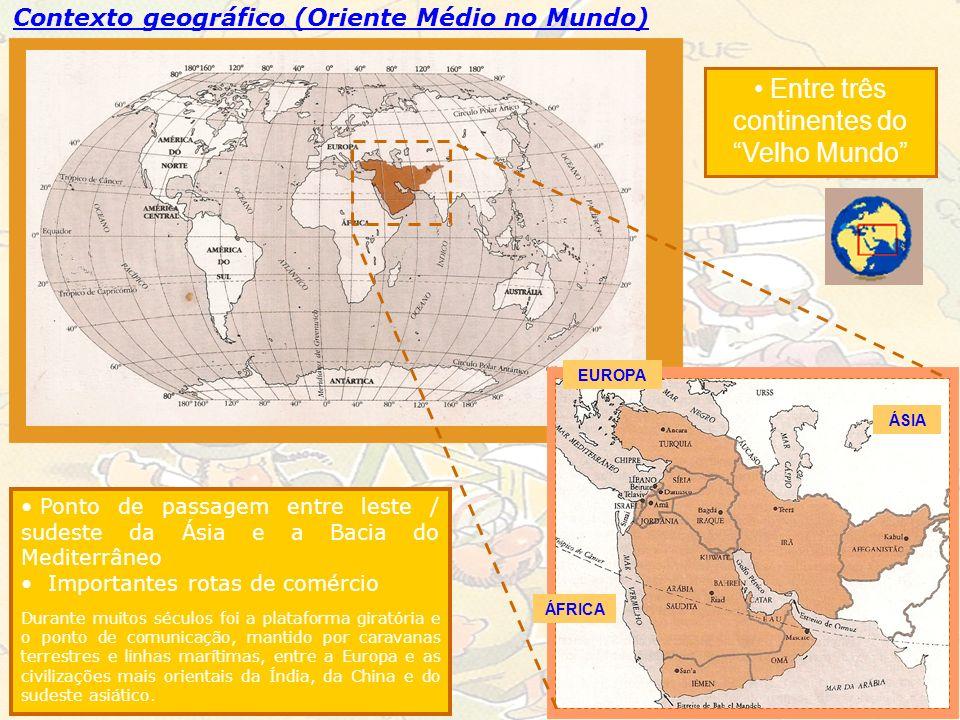 Contexto geográfico (Oriente Médio no Mundo) Ponto de passagem entre leste / sudeste da Ásia e a Bacia do Mediterrâneo Importantes rotas de comércio D