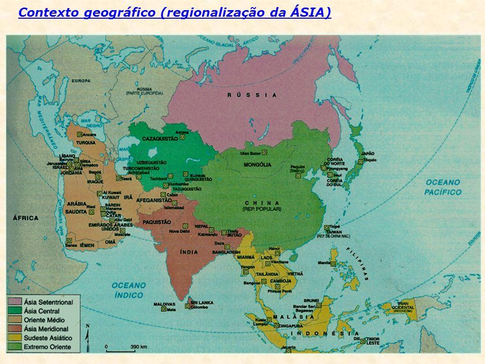 ÁSIA SETENTRIONAL ÁSIA CENTRAL ORIENTE MÉDIO RÚSSIA SUDESTE ASIÁTICO VIETNÃ LAOS CAMBOJA TAILÂNDIA MIANMAR VIETNÃ LAOS CAMBOJA TAILÂNDIA MIANMAR Península da Indochina MALÁSIA CINGAPURA MALÁSIA CINGAPURA INDONÉSIA FILIPINAS BRUNEI TIMOR LESTE INDONÉSIA FILIPINAS BRUNEI TIMOR LESTE Península de Malaia Arquipélago da Insulíndia CHINA JAPÃO CORÉIA DO NORTE CORÉIA DO SUL TAIWAN MONGÓLIA CHINA JAPÃO CORÉIA DO NORTE CORÉIA DO SUL TAIWAN MONGÓLIA EXTREMO ORIENTE ÁSIA MERIDIONAL ou SUB CONTINENTE INDIANO Povos indianos e indochineses ÍNDIA PAQUISTÃO BANGLADESH NEPAL BUTÃO SRI LANKA ÍNDIA PAQUISTÃO BANGLADESH NEPAL BUTÃO SRI LANKA Istões / Leste do Már Cáspio CAZAQUISTÃO UZBEQUISTÃO TURCOMENISTÃO TADJIQUISTÃO QUIRGUISTÃO CAZAQUISTÃO UZBEQUISTÃO TURCOMENISTÃO TADJIQUISTÃO QUIRGUISTÃO AFEGANISTÃO IRÃ IRAQUE SÍRIA JORDÂNIA TURQUIA ISRAEL LÍBANO AFEGANISTÃO IRÃ IRAQUE SÍRIA JORDÂNIA TURQUIA ISRAEL LÍBANO CONTINENTAIS ARÁBIA SAUDITA IÊMEN OMÃ EMIRADOS A.U.