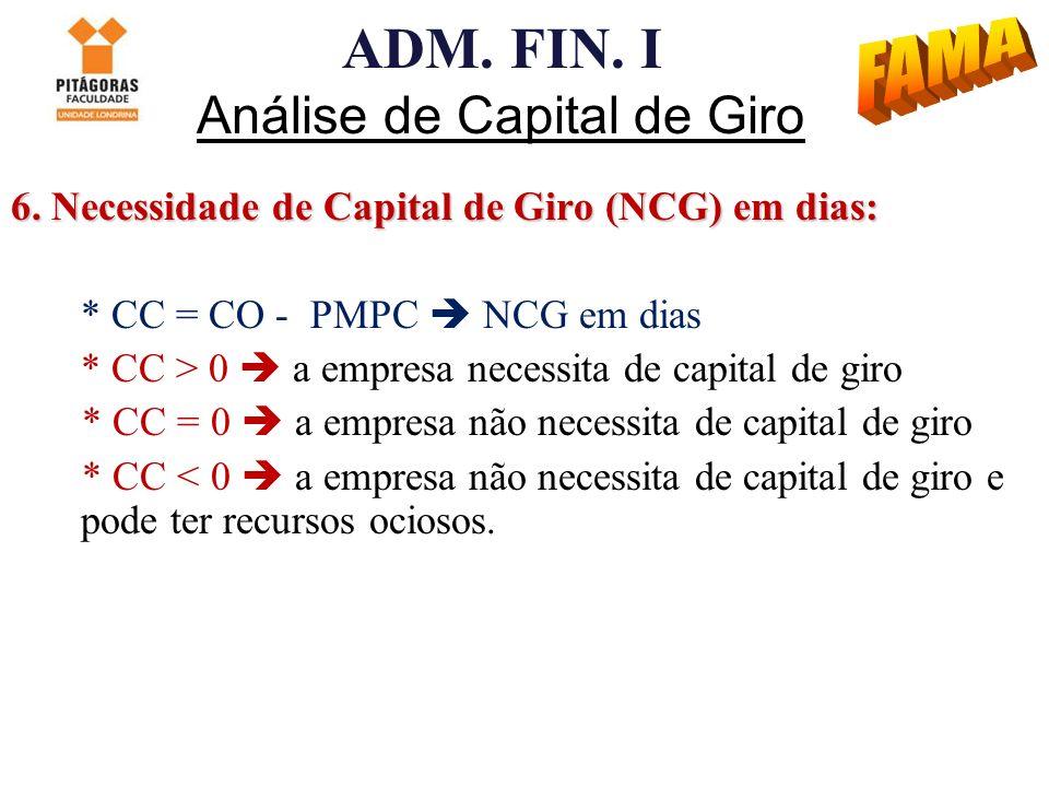 ADM. FIN. I Análise de Capital de Giro 6. Necessidade de Capital de Giro (NCG) em dias: * CC = CO - PMPC NCG em dias * CC > 0 a empresa necessita de c