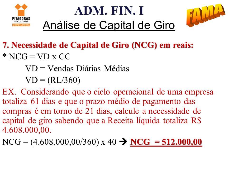 ADM. FIN. I Análise de Capital de Giro 7. Necessidade de Capital de Giro (NCG) em reais: * NCG = VD x CC VD = Vendas Diárias Médias VD = (RL/360) EX.