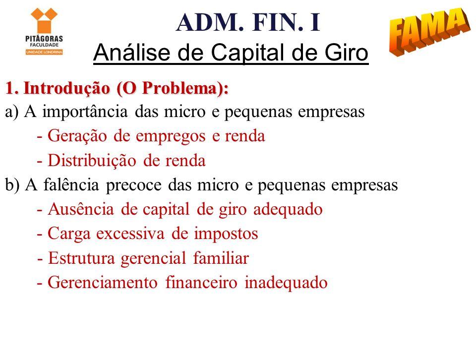 ADM. FIN. I Análise de Capital de Giro 1. Introdução (O Problema): a) A importância das micro e pequenas empresas - Geração de empregos e renda - Dist