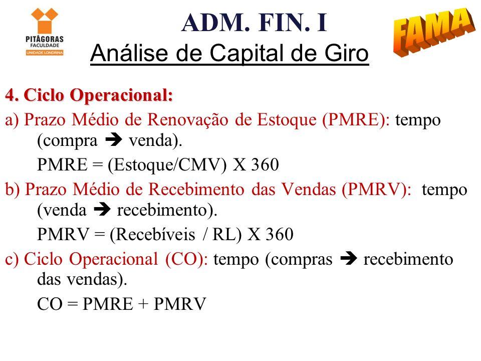 ADM. FIN. I Análise de Capital de Giro 4. Ciclo Operacional: a) Prazo Médio de Renovação de Estoque (PMRE): tempo (compra venda). PMRE = (Estoque/CMV)