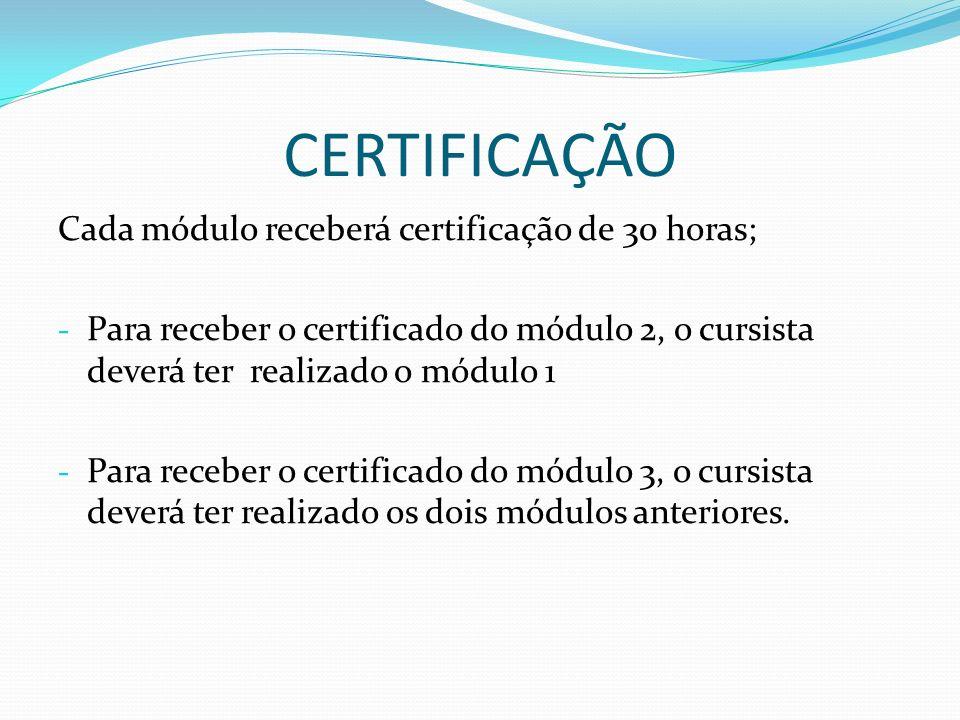 CERTIFICAÇÃO Cada módulo receberá certificação de 30 horas; - Para receber o certificado do módulo 2, o cursista deverá ter realizado o módulo 1 - Par