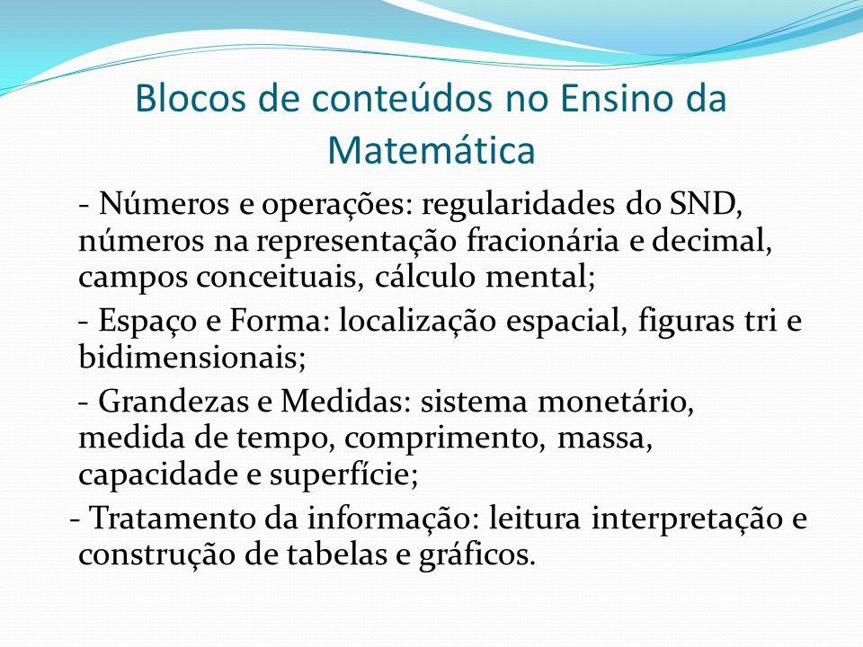 Blocos de conteúdos no Ensino da Matemática - Números e operações: regularidades do SND, números na representação fracionária e decimal, campos concei