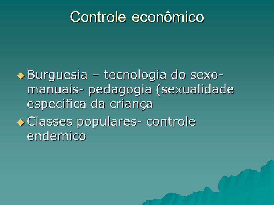 Controle econômico Burguesia – tecnologia do sexo- manuais- pedagogia (sexualidade especifica da criança Burguesia – tecnologia do sexo- manuais- peda