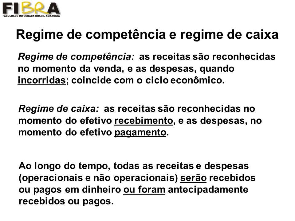 Regime de competência e regime de caixa Regime de competência: as receitas são reconhecidas no momento da venda, e as despesas, quando incorridas; coincide com o ciclo econômico.