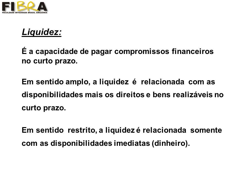 Liquidez: É a capacidade de pagar compromissos financeiros no curto prazo.