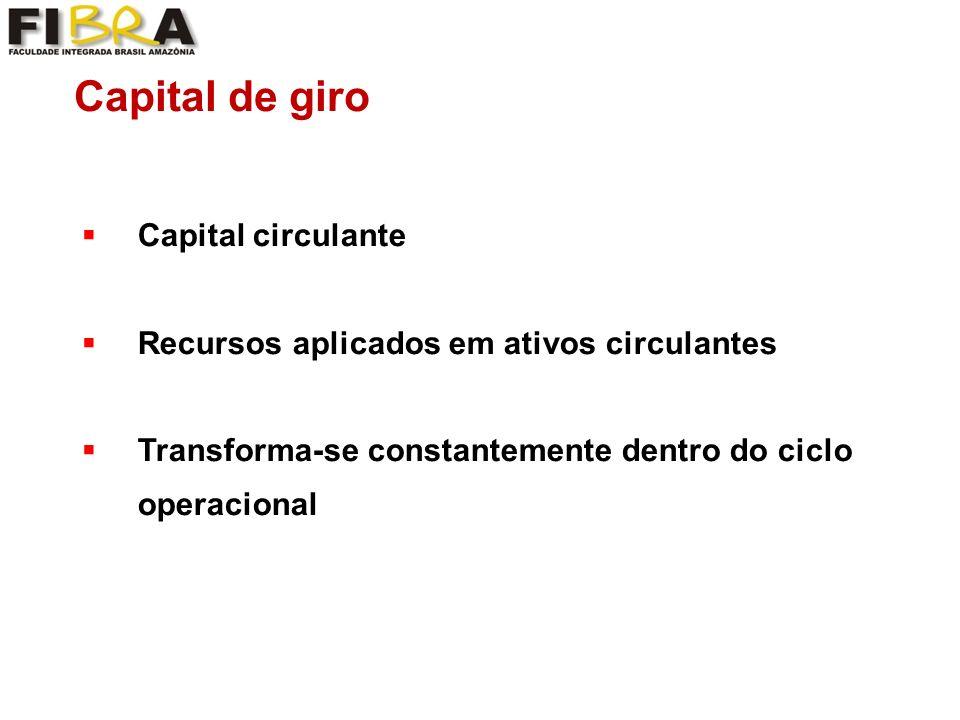 Capital de giro Capital circulante Recursos aplicados em ativos circulantes Transforma-se constantemente dentro do ciclo operacional